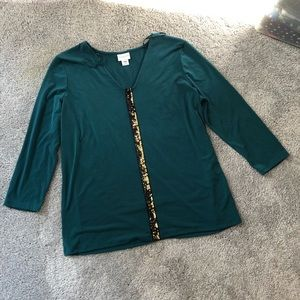 Jaclyn Smith Dressy Embellish Pullover Top Large
